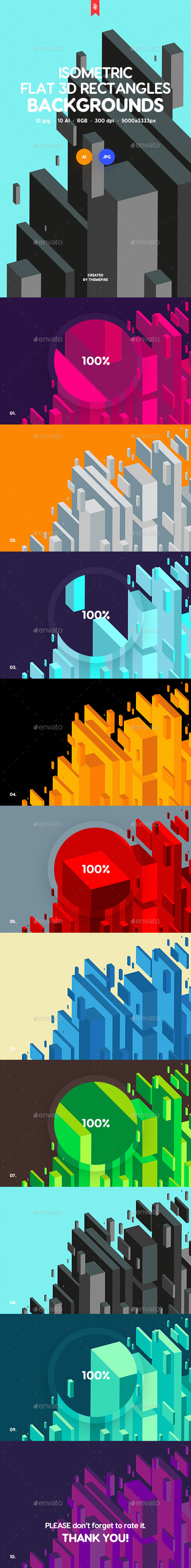 Isometric Flat 3D Rectangles Backgrounds - Abstract Backgrounds