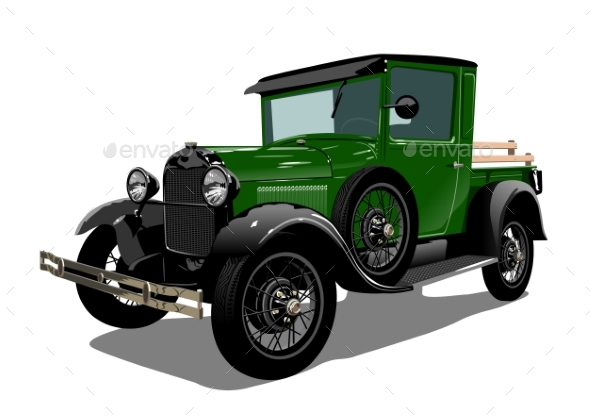 Vector Retro Truck - Man-made Objects Objects