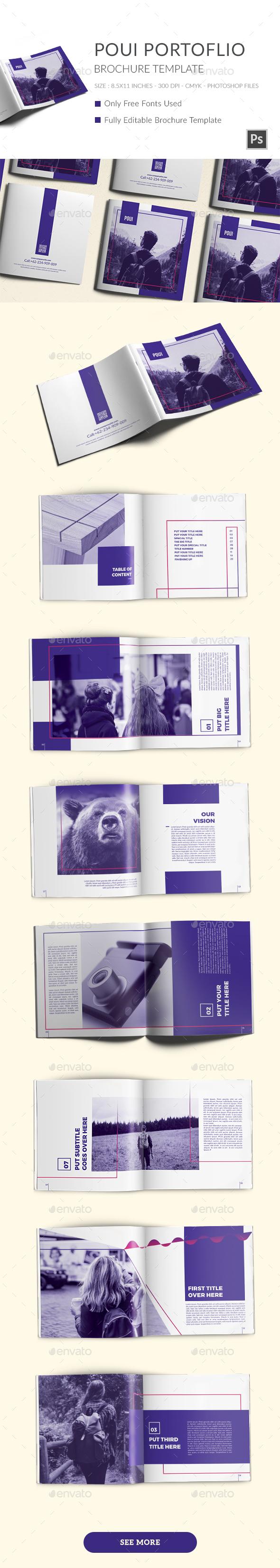 POUI Square Portfolio Brochure Template - Brochures Print Templates