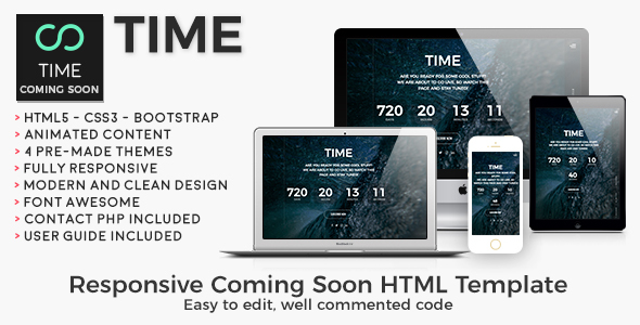 Time - Animated Coming Soon HTML/CSS Website Template - Events Entertainment