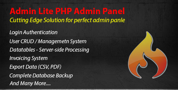 Admin Lite - PHP Admin Panel + CRUD - CodeCanyon Item for Sale