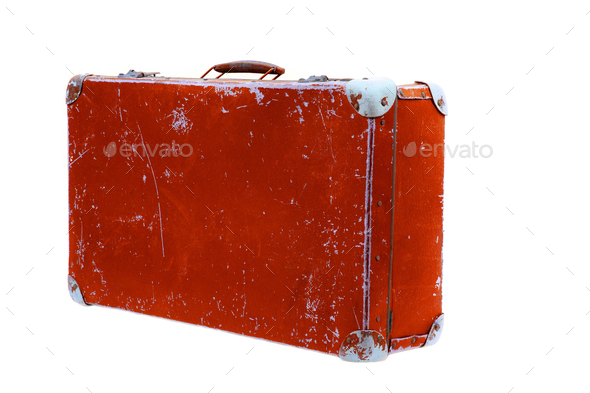 Old suitcase on a white background  - Stock Photo - Images