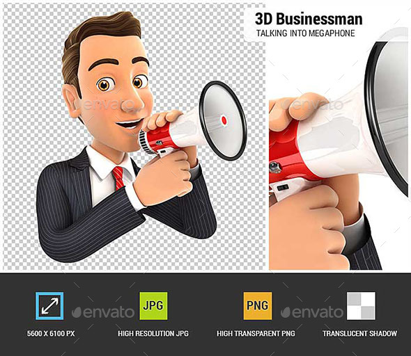 3D Businessman Talking into Megaphone - Characters 3D Renders
