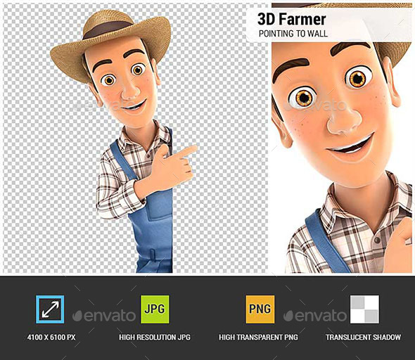 3D Farmer Pointing to Right Blank Wall - Characters 3D Renders
