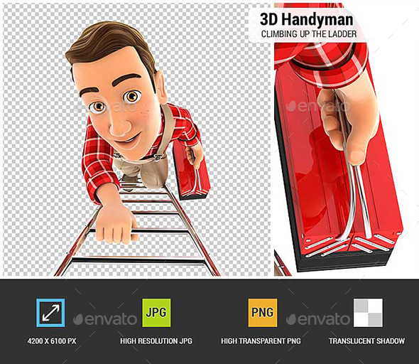 3D Handyman Climbing Up the Ladder - Characters 3D Renders