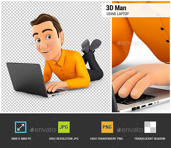 3D Man Lying on the Floor and Using Laptop - Characters 3D Renders