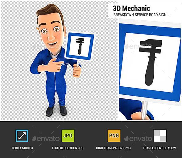 3D Mechanic Holding Breakdown Service Road Sign