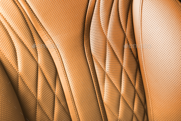 Orange colored leather texture background - Stock Photo - Images