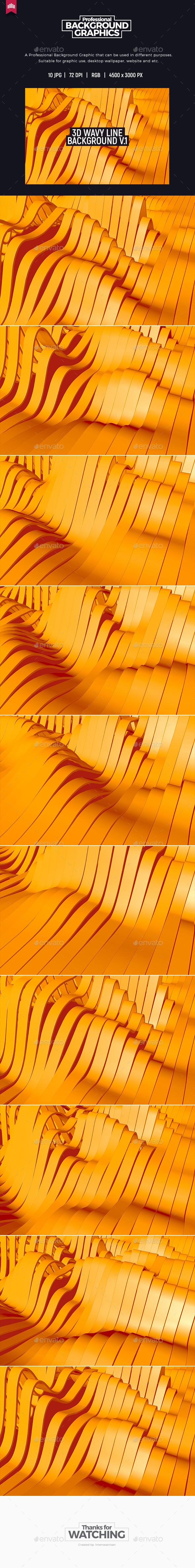 3D Wavy Line Background V.1 - 3D Backgrounds
