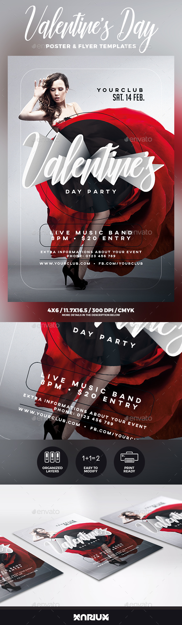 Valentine's Day Party Flyer & Poster - Events Flyers