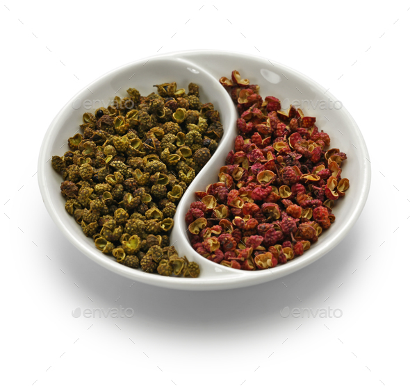 sichuan pepper, green and red - Stock Photo - Images