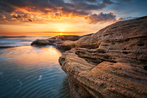 Rocky sunrise - Stock Photo - Images