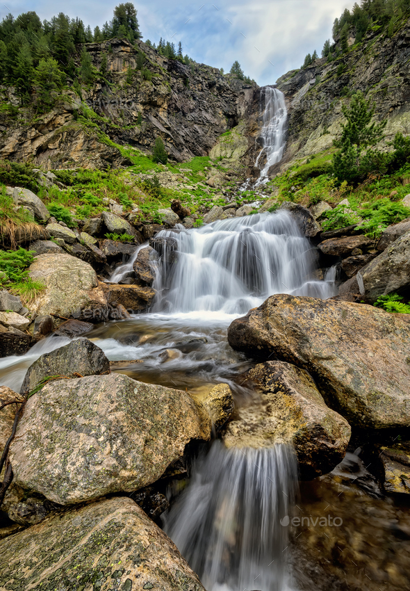 Waterfall in Rila Mountains - Stock Photo - Images