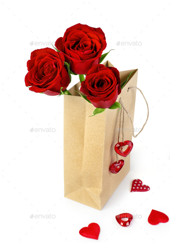 Bag of Valentine Roses - Stock Photo - Images