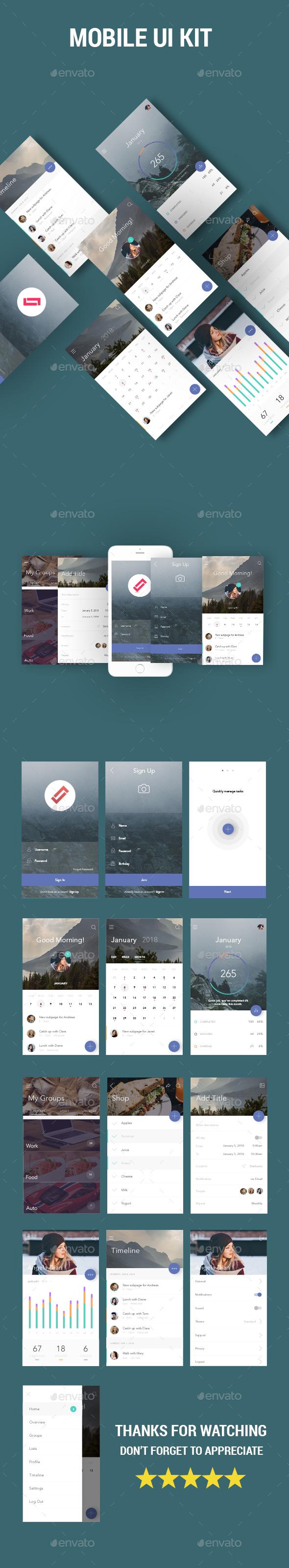 Mobile UI Kit - User Interfaces Web Elements