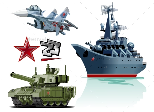 Set of Cartoon Military Equipment - Man-made Objects Objects