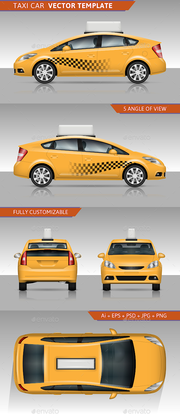 Taxi Car Vector Template - Man-made Objects Objects