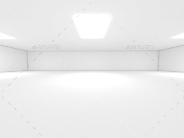 White Room Spotlight and Empty Space 3D Render - 3D Backgrounds