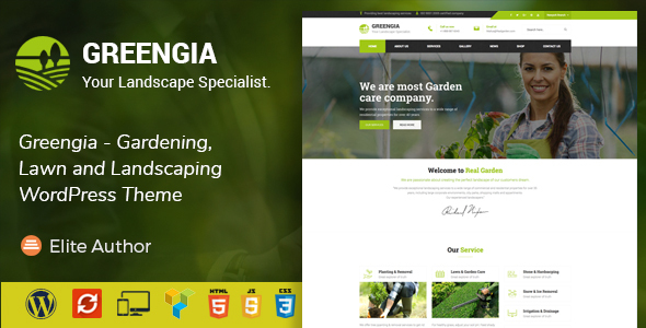 ThemeForest Greengia Gardening Lawn and Landscaping WordPress Theme 20434545
