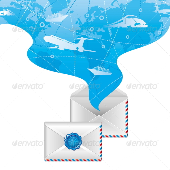Travel Illustration with Open & Closed Letters - Travel Conceptual