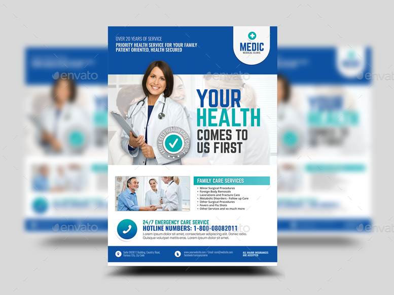 medical center and clinic promotional flyer by artchery