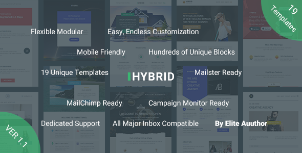Hybrid, Complete Email Marketing Template + Builder Access