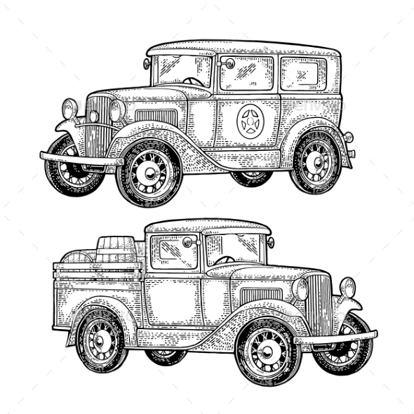Retro Police Car and Pickup Truck with Barrels - Travel Conceptual