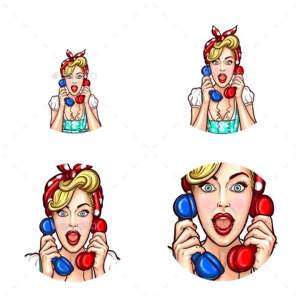 Pop Art Woman or Girl Speaking Gossip on Phone - People Characters