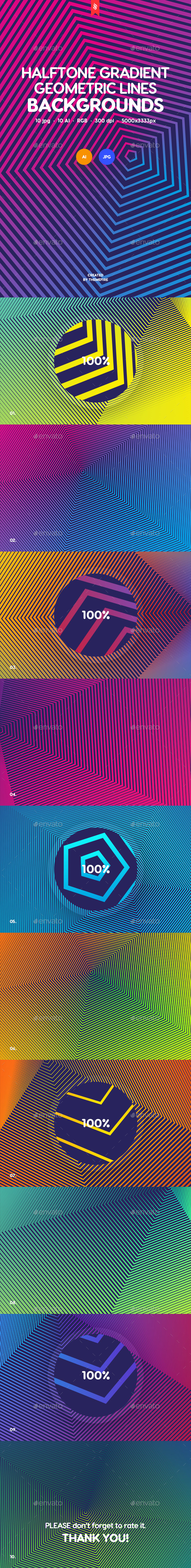 Halftone Gradient Geometric Lines Backgrounds - Tech / Futuristic Backgrounds