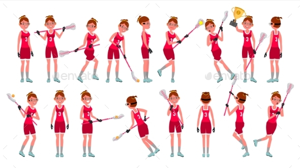 Lacrosse Girl Vector - People Characters