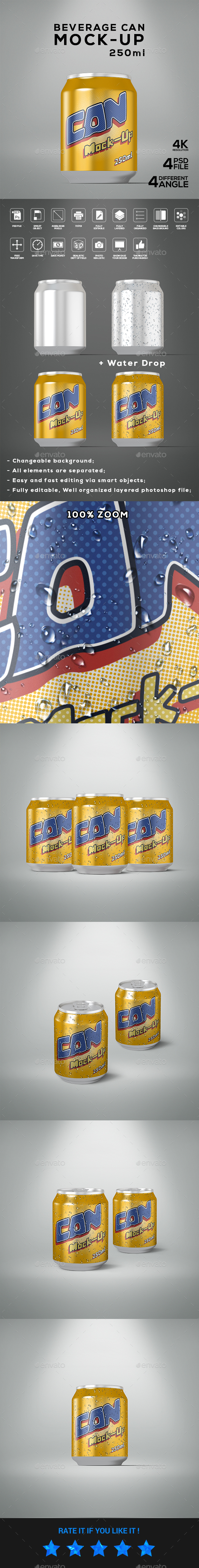 Beverage Can 250ml Mock-Up - Food and Drink Packaging