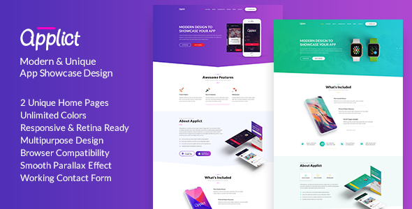 Image of Applict | App Landing HTML Template