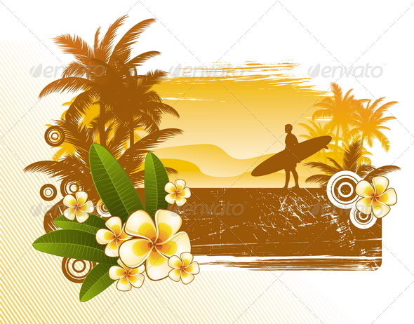 Tropical Flowers and Surfer - Travel Conceptual
