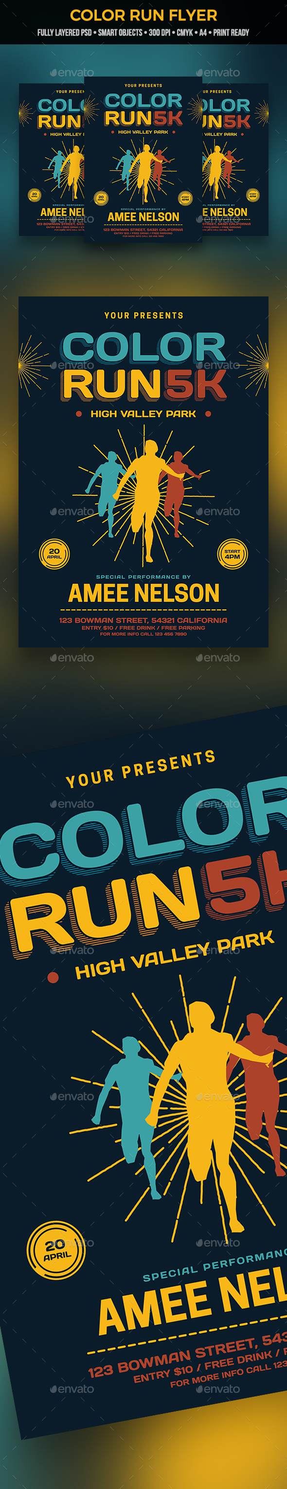 Color Run Flyer - Sports Events
