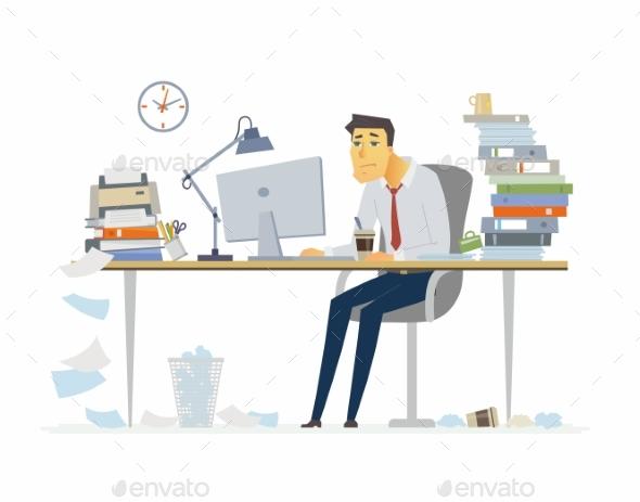 Tired Office Worker - Modern Cartoon People - People Characters
