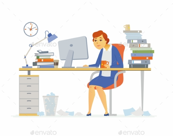 Tired Office Worker - Modern Cartoon People - People Characters