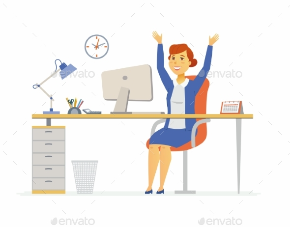 Happy Office Worker - Modern Cartoon People - People Characters