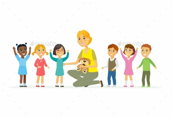 Nursery Teacher with Children - Cartoon People - People Characters