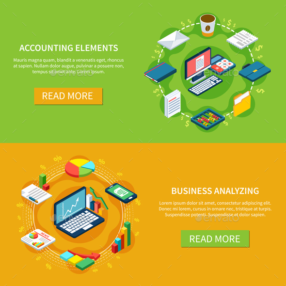 Accounting Horizontal Banners Collection - Concepts Business