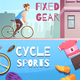 Cycle Sports Horizontal Cartoon Banners
