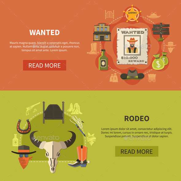 Wanted Bandit and Rodeo Banners - Miscellaneous Vectors