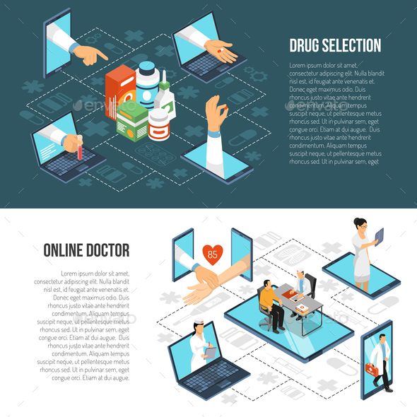 Online Medical Diagnosis Isometric Banners - Health/Medicine Conceptual