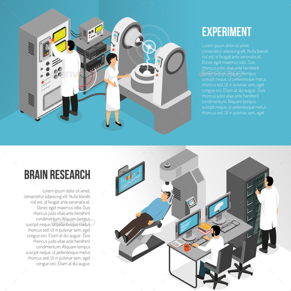 Brain Research Banners Set - Miscellaneous Vectors