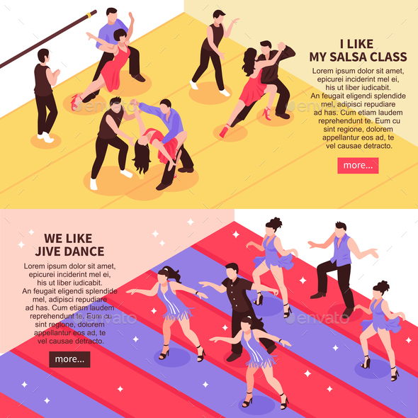 Dance Isometric People Banners - People Characters