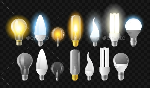 Set of Light Bulbs - Realistic Vector Isolated - Man-made Objects Objects