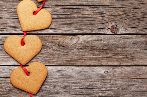 Valentines day gift box with heart cookies - Stock Photo - Images