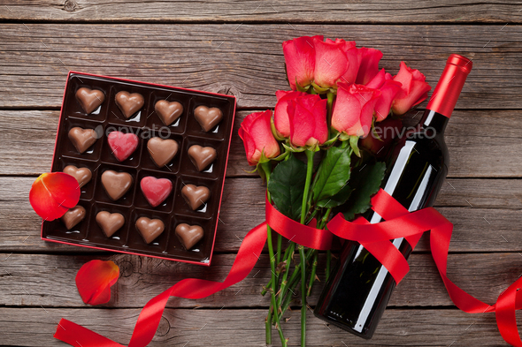 Valentines day greeting card with heart shaped chocolate - Stock Photo - Images
