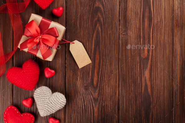 Valentines day hearts and gift boxes - Stock Photo - Images