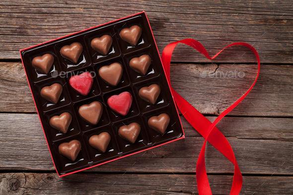 Valentines day greeting with heart chocolate box - Stock Photo - Images