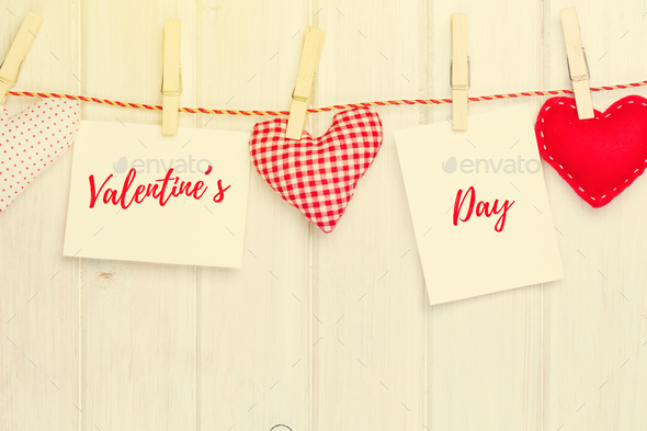 Photo frames and valentines toy hearts - Stock Photo - Images